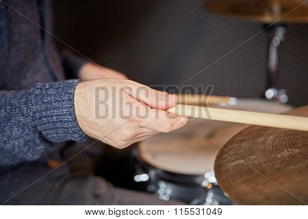 Hand Of Drummer With Drumstick
