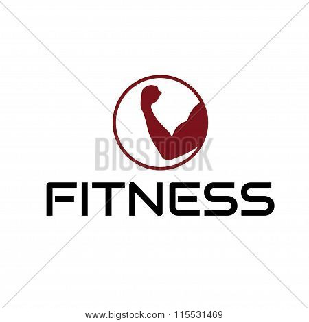 Fitness Emblem With Muscle