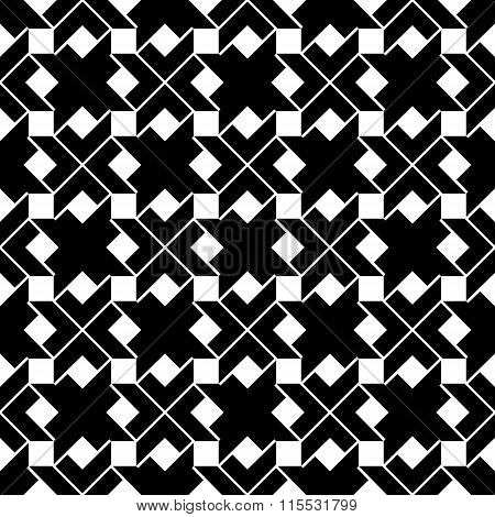Monochrome Geometric Art Seamless Pattern, Vector Artificial Expressive Background With Squares.