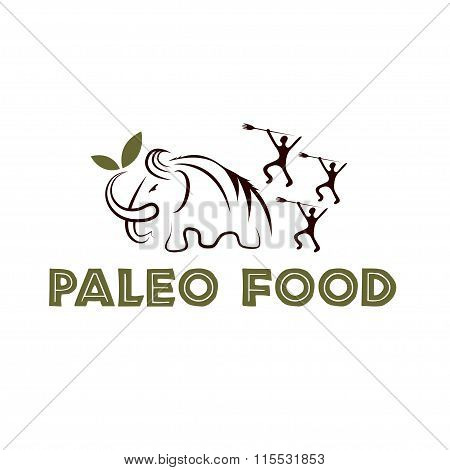 Paleo Food Illustration With Mammoth And Cavemans