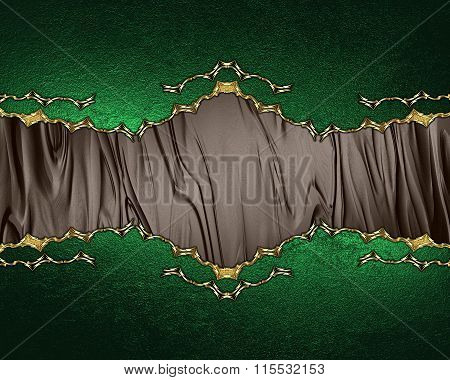 Brown Nameplate On A Green Background. Element For Design. Template For Design. Copy Space For Ad Br