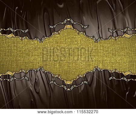 Gold Nameplate On A Brown Background. Element For Design. Template For Design. Copy Space For Ad Bro