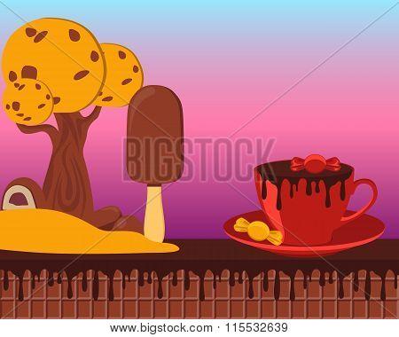 Fairy Tale chocolate land. Game design. Vector illustration