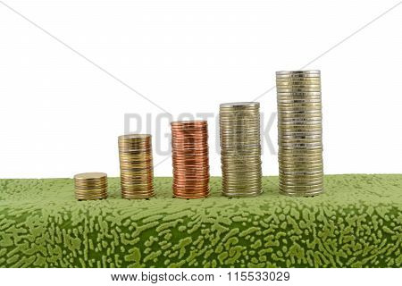 Stacks Of Coins White Background