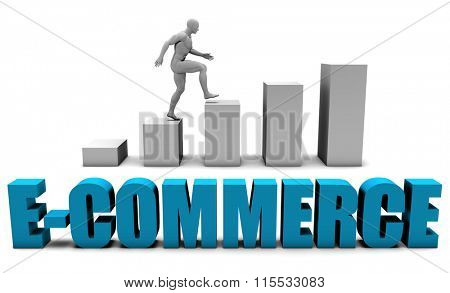 E-commerce 3D Concept  in Blue with Bar Chart Graph