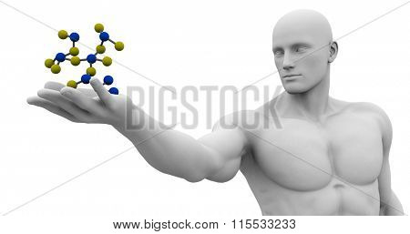Man Observing and Analyzing Molecule Structure Art
