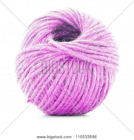 Pink Fiber Clew, Crochet Thread Roll Isolated On White Background