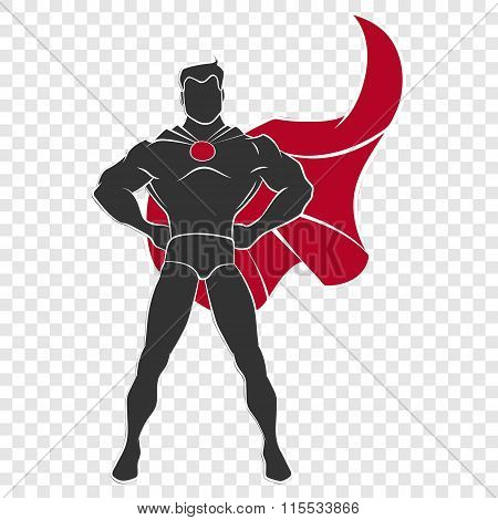 Superhero standing in defensive stance