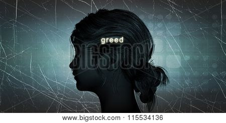 Woman Facing Greed as a Personal Challenge Concept