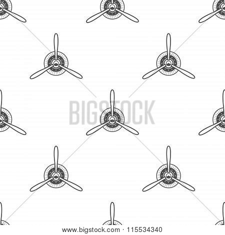 Vintage airplane pattern. Biplane propellers seamless background. Retro Aircraft wallpaper and desig