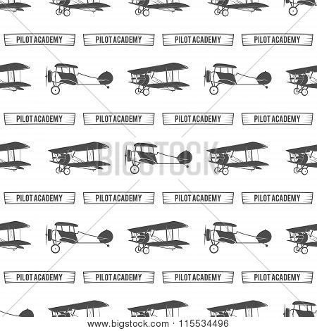 Vintage pilot academy pattern. Old Biplanes seamless background with ribbon. Retro Airplane wallpape
