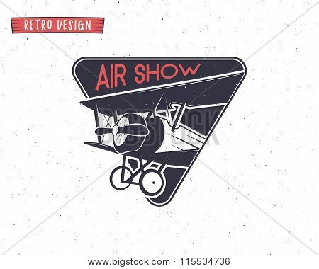 Airshow emblem. Biplane label. Retro Airplane badges, design elements. Vintage prints for t shirt. A