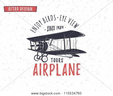 Airplane emblem. Biplane label. Retro Plane badges, design elements. Vintage prints for t shirt. Avi