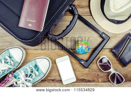 Clothing Traveler's Passport, Wallet, Glasses, Watches, Smart Phone Devices, Hat, Shoes, On A Wooden