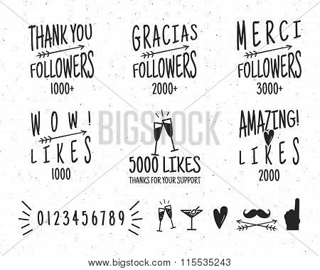 Set of vintage Thanks badges. Social media Followers labels and likes stickers. Handwriting letterin