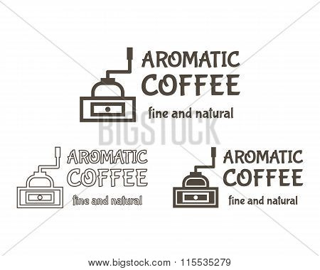 Set of Vector Coffee mill Elements and Cafe Accessories Illustration. Can be used as Logo, Label in