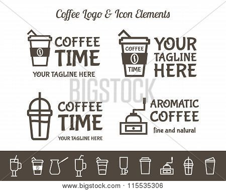 Set of Vector Coffee Elements and restaurant line icons Accessories Illustration. Can be used as Log