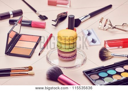 Still life of fashion woman, essentials cosmetics