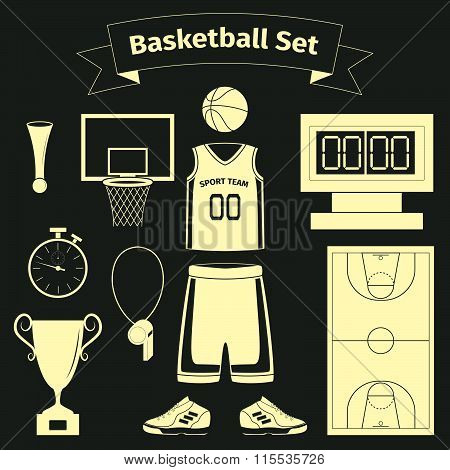 Basketball Equipment And Uniform Icons Set