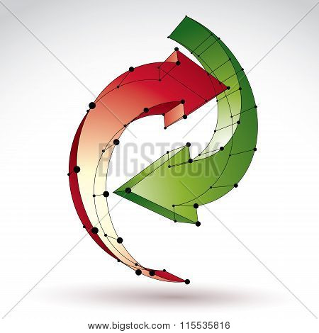 3D Mesh Stylish Update Sign Isolated On White Background, Colorful Elegant Lattice Renew Icon, Dimen
