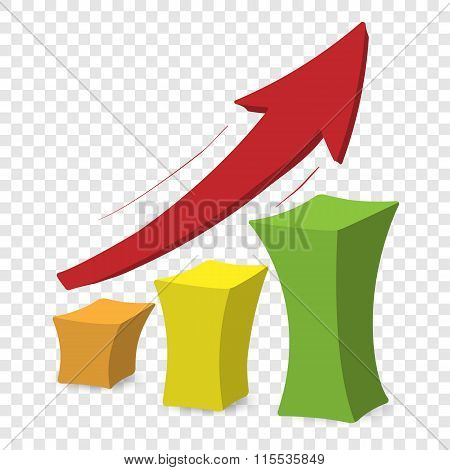 Chart with arrow colorful cartoon