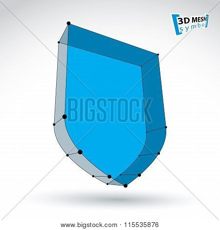 3D Mesh Web Blue Security Icon Isolated On White Background, Colorful Lattice Shield Symbol