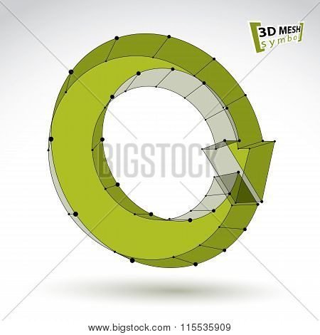 3D Mesh Stylish Update Sign Isolated On White Background, Green Eco Elegant Lattice Renew Icon, Dime