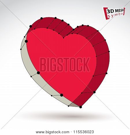 3D Mesh Stylish Web Red Love Heart Sign Isolated On White Background, Colorful Elegant