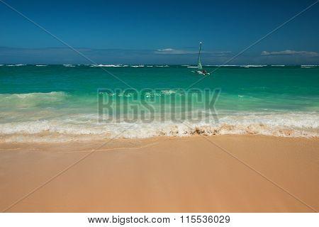 Sailing Adventure Catamaran In Carribean Sea, Beautiful Panoramic View