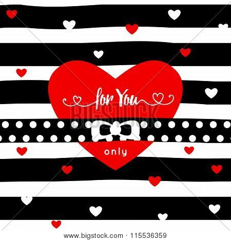 heart for you only . mesage . red hert and ribbon isolated on stripe background. Valentine's day gre