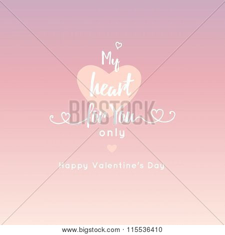my heart for you only . mesage . pink hert and ribbon isolated on pink gradient background. Valentin