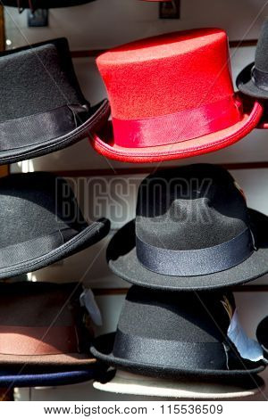 In London Old Red Hat And Black  The   Shop