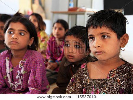 THAR DESERT, 27 March 2015, INDIA - Elementary school class in Thar Desert, India, Asia