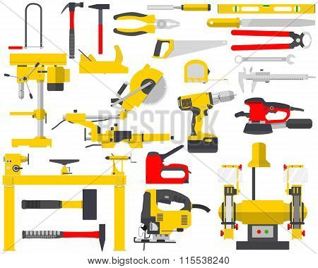 Top view of an isolated set of tools for the repair of a carpenter on a white background. Woodworkin