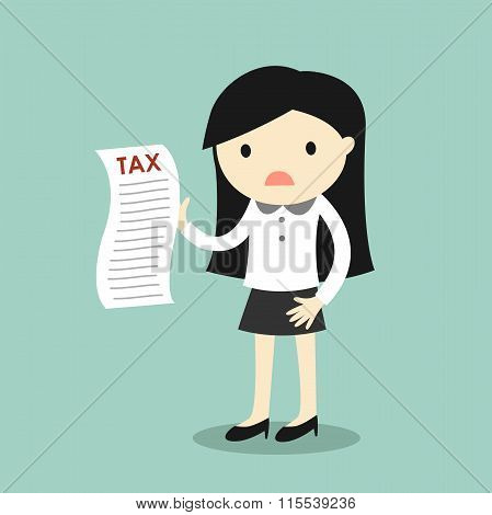 Business concept, business woman feeling worry about tax. Vector illustration.