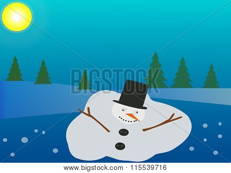 Melting snowman on the snowy blue background with sun