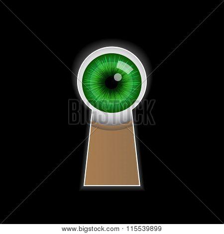 Cartoon green eye peeping through the keyhole.