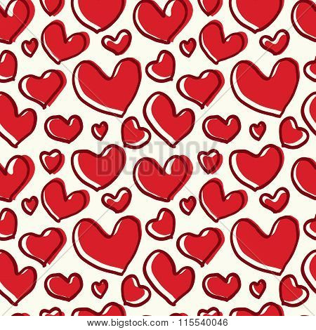 Pattern red heart with a thick line
