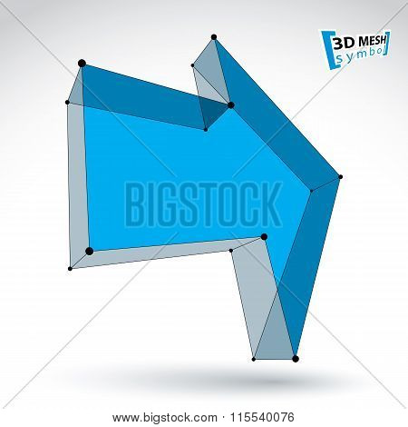 3D Mesh Trendy Colorful Forward Arrow Isolated On White Background, Lattice Bright Pointer Icon With