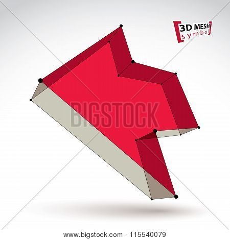 3D Mesh Trendy Colorful Backward Arrow Isolated On White Background, Elegant Bright Pointer Icon Wit
