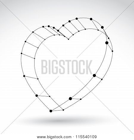 3D Mesh Stylish Web Monochrome Love Heart Sign Isolated On White Background, Black And White