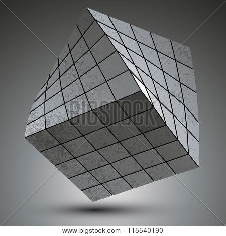 Modern Galvanized Stylish 3D Construction Created From Squares, Dimensional Metallic Twisted Object.