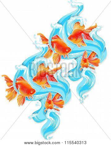Goldfish illustration artwork  line underwater color wildlife