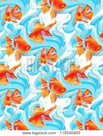 Goldfish illustration artwork line underwater pattern seamless texture