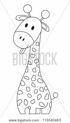 Coloring Book - Funny Giraffe With Tongue Stick Out