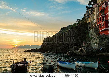 Riomaggiore (cinque Terre Liguria Italy) At Sunset