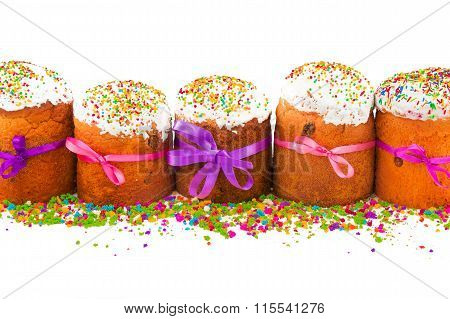 Easter Cakes With Colorful Ribbons And Multicolor Sugar