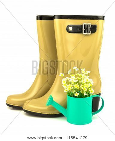 Rubber Boots With Spring Flowers In The Watering Can
