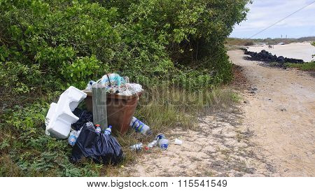 Puerto Villamil, Ecuador - November 19, 2015: Trasch Full Of Rub