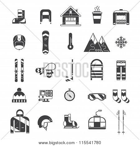 Winter Sports And Activity Outline Icon Set
